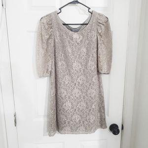 Taupe lace dress